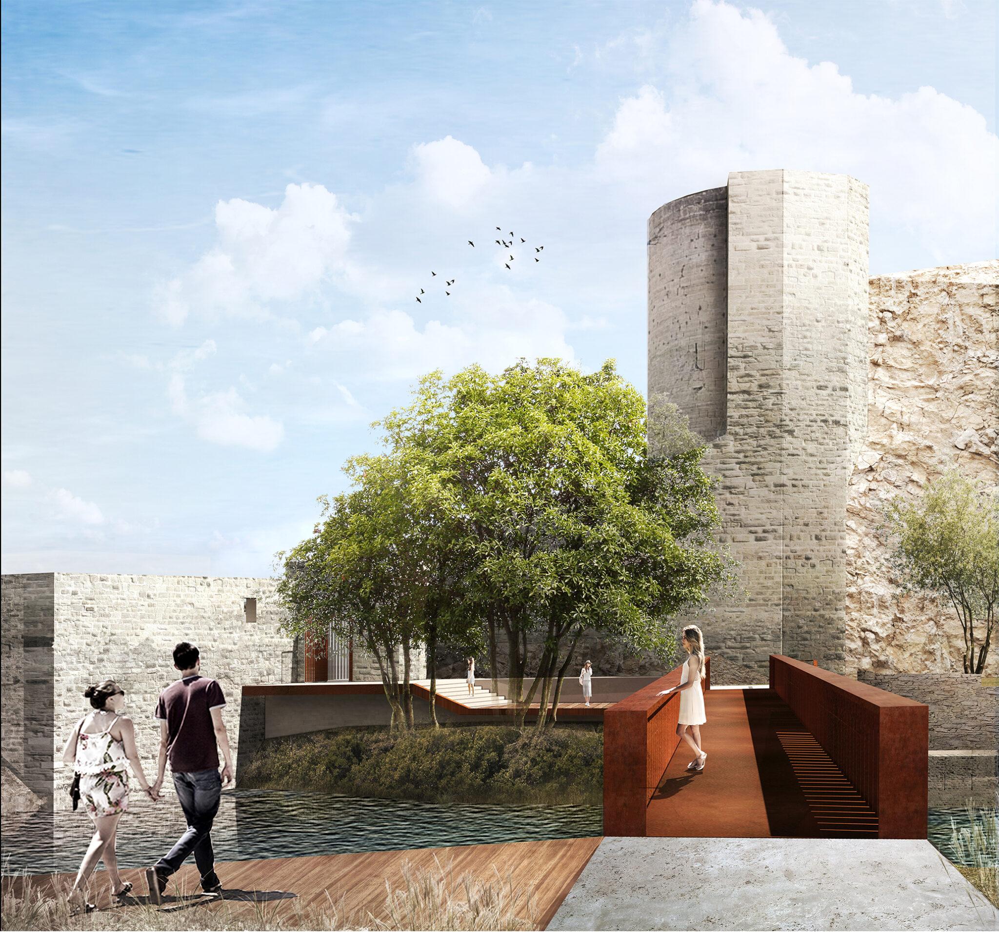 passerelle de roquemaure réalisée par le cabinet d'architecture de Laurent DUPORT et Nicolas CREGUT